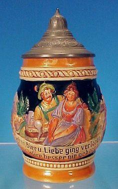 """Vintage German Lidded Beer Stein West Germany - """"Wenn Bier u(und) Liebe ging verloren Dann Wäre besser nie geboren"""""""