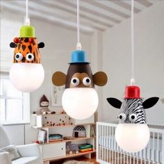 Joy Cute Animal Shaped Single-Light Pendant Light with Coloured Canopy