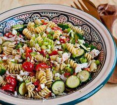 Greek Crab Pasta Salad. #food