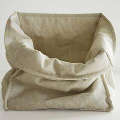 Linen storage basket.