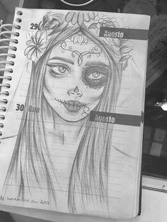 Mexican skull bride sketch
