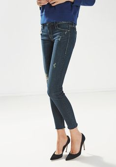 MOTHER DENIM THE LOOKER ANKLE FRAY IN JADED AND TORN