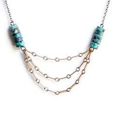 Layered Chain Necklace Turquoise