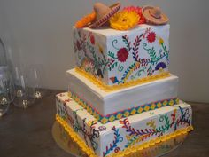 Mexican Theme Cake: margarita, tres leche, & pina coloda flavored tiers by GoBoulay (GoBoulayCakes.com)