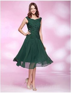 Australia Cocktail Party Dresses Holiday Wedding Party Dress Dark Green Plus Sizes Dresses Petite A-line Princess Bateau Short Knee-length Chiffon Formal Dress Australia