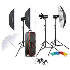 Godox Professional Photography Photo Studio Speedlite Lighting Lamp Kit Set with (3 *) 300W Studio Flash Strobe Light Stand Softbox Soft Reflector Umbrella Barn Door Trigger