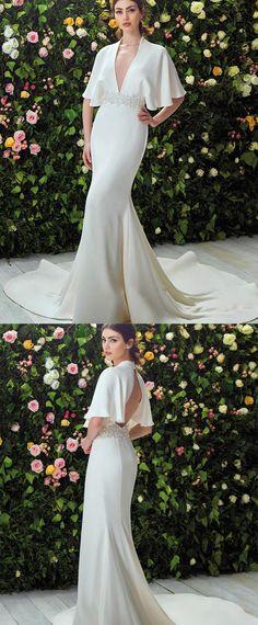 Graceful Acetate Satin Deep V-neck Neckline Sheath Wedding Dresses With Beaded Lace Appliques