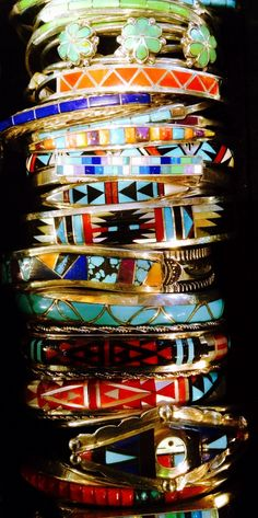 Turquoise#stacking bracelets#vogue#coral and multi inlay bracelets all from www.jessiewestern.com