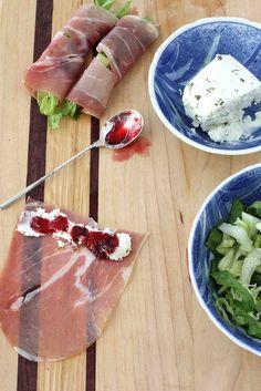 Prosciutto, Goats Cheese & Cherry Jam Rolls