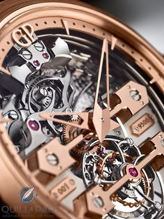 Close-up dial-side view of the Girard-Perregaux Minute Repeater Tourbillon with Gold Bridges