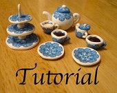 How to make a miniature polymer clay tea set: tutorial with canework pattern