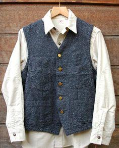 "Sugar Cane ""Oxford Work Vest"" Sugar Cane ""Flannel L/S Work Shirt"""
