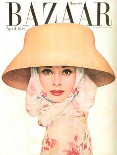 Audrey Hepburn on the cover of Harper's Bazaar', April 1956.