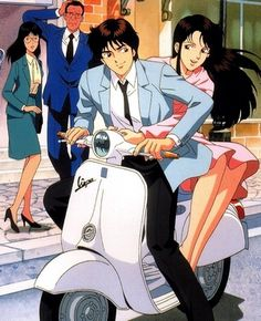 """ES ~~ Peaches { aka """"Momotarou""""} is waving at Gou, Sosuke is limbering up, but who on Earth are the two in the lower left? :: Watch closely to see Rin blink slowly as if he is already tired of these fools. Cat's Eye Anime, Old Anime, Manga Anime, Vespa Illustration, Nicky Larson, Good Anime Series, City Hunter, Ad Art, Disney Cartoons"""