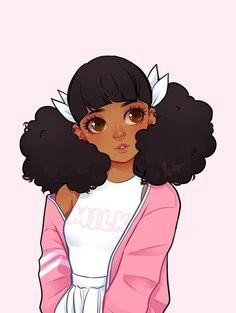 Anime, drawing, and kawaii image Art Black Love, Black Girl Art, Art Girl, Black Girls, Cartoon Kunst, Cartoon Art, Pretty Art, Cute Art, Black Girl Cartoon