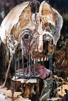 This 1973 painting by Austrian author Otto Rapp depicts a frightening depiction of a decomposing human skull on a devilish birdcage in which the raw gore of mans physical being lies lifeless at the base.