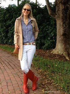Fashion-Over-40-Michael-Kors-Trench-White-Jeans-Coat-Red-Hunter-Tour-Boots
