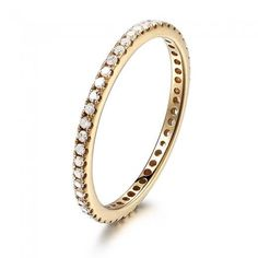14K Yellow Gold Pave Diamonds Engagement Wedding Eternity Band Ring Thin Design$249+