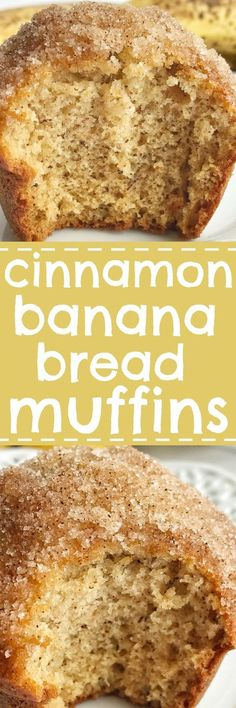 Cinnamon banana bread muffins taste like banana bread in muffin form! They are perfectly light and moist, loaded with banana flavor, and bake up beautifully each time. Topped in butter and a sweet cinnamon crumble.