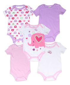 Look at this #zulilyfind! Purple & Pink Elephant Hearts Bodysuit Set #zulilyfinds
