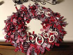 My first rag wreath! #WPS #Razorbacks