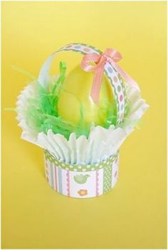 Use cupcake liners to create mini Easter baskets perfect for an individual Easter egg, whether real or plastic. Give as favors or write names on the plastic Easter eggs and use for decorative Easter place-cards.