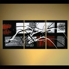 Modern Abstract Painting Black White Red Original by OsnatFineArt, $599.00