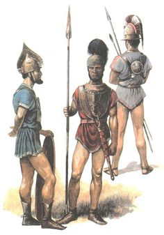 Early Italic warriors of the seventh or sixth century b.c. They wear bronze armor of various types, all common in the Italian peninsula at the time.
