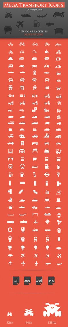 150 Free Transport Icons- this will be good for making art and wall decals for the transportation themed room Web Design, Icon Design, Logo Design, Flat Design, Travel Icon, Instagram And Snapchat, Icon Pack, Line Icon, Graphic Design Illustration