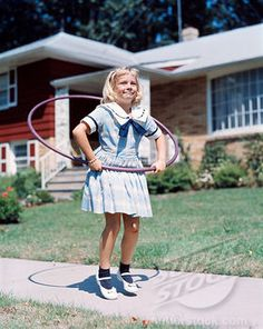 Young Blond Girl Playing With Hula Hoop Outside On Suburban Sidewalk In Sailor Style Dress Stock Photo Sailor Fashion, Baby Boom, The Good Old Days, Retro, Childhood Memories, 1950s, Hula Hooping, Sailor Style, Youth
