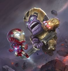 Did you like the fact that Thanos got killed in Endgame?Would you like to see him in more Marvel movies? Art by: Avengers Fan Art, Avengers Cartoon, Marvel Cartoons, Iron Man Avengers, The Avengers, Marvel Art, Marvel Heroes, Marvel Movies, Deadpool Wallpaper