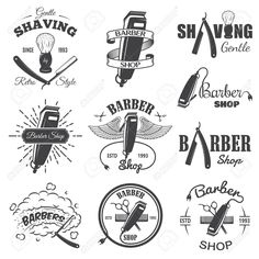 Set Of Vintage Barber Shop Emblems, Label, Badges And Designed ...