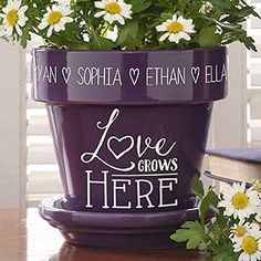 "Cute Gift idea for mom or Grandma! Personalized ""Love Grows Here"" Personalized Flower Pot - have it engraved with all their kids or grandkids' names around the rim - such a great gift idea!"