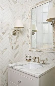 says this Marble herringbone tile bathroom is gorgeous! We would love to recreate this design in YOUR powder room! House Design, Traditional Bathroom, Marble Bathroom, Marble Bathroom Designs, Artistic Tile, Herringbone Tile, Chevron Tile, Beautiful Bathrooms, Bathroom Inspiration
