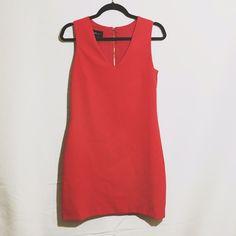 Mango red dress long back zip cocktail v neck Zara's mango brand dress. Amazing condition. No stains or tears. Zara Dresses Mini