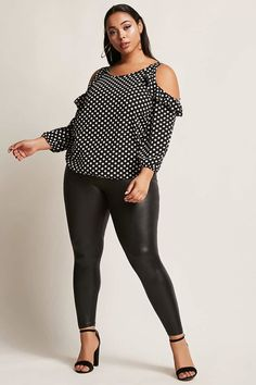 FOREVER 21+ Plus Size Open-Shoulder Polka Dot Top Female Fashion and Style for Woman plus size #Plussize #plussizefashion #ad