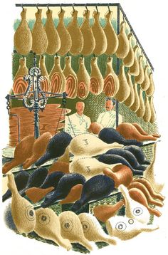 """hams"" by eric ravilious, I'm a big vegan but these guys in this illustration look so interesting , Retro Illustration, Food Illustrations, Meat Art, Royal College Of Art, Gravure, Painting & Drawing, Printmaking, Framed Artwork, Illustrators"
