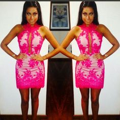 Vestido rosa de renda aplicada   dress Instagram @atelierceliavieira