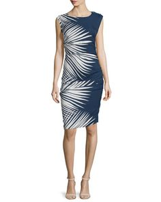 Mojorra Ruched Leaf-Print Sheath Dress, Navy/White by Veronica Beard at Neiman Marcus.