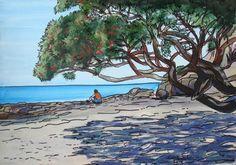 Whiritoa Pohutukawa art print - The Little Gallery