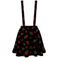 Harajuku Style Strawberry Printed Wave Hem Strap Dress ❤ liked on Polyvore featuring dresses, skirts, bottoms, one piece, strappy dress and strap dress