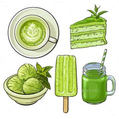 Buy Hand Drawn Food with Matcha Tea - Ice Cream and Cake by Sabelskaya on GraphicRiver. Hand drawn food with matcha green tea – ice cream, cake, drinks, sketch vector illustration isolated on white backgro. Food Design, Dessert Illustration, Cocktail Illustration, Tea Illustration, Green Tea Ice Cream, Cute Food Art, Food Sketch, Cute Food Drawings, Watercolor Food