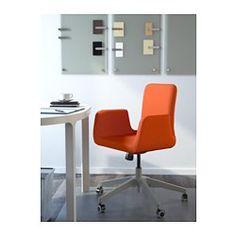 IKEA - PATRIK, Drehstuhl, Ullevi orange, , Die Sitzfläche lässt sich auf bequeme Arbeitshöhe einstellen.Einstellbarer Wippmechanismus. Der Widerstand lässt sich den Bewegungen und dem Körpergewicht anpassen.Die Rollen mit Gummiüberzug gleiten sanft über jede Art von Fußbodenbelag.