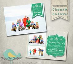 Christmas Card PHOTOSHOP TEMPLATE  Family by SugarfliesDesigns
