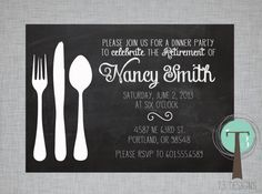 Retirement Party Invitation, Dinner Party invitation, retirement, party, chalkboard invitation, RETIREMENT PARTY invite, luncheon invitation on Etsy, $12.99