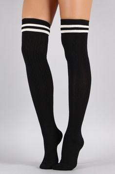 Double Stripe Textured Thigh High Socks