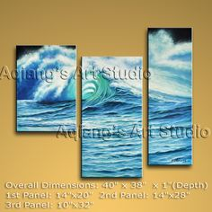 Triptych Contemporary Wall Art Seascape Painting Sea Wave Oil On Canvas Modern Oil Painting, Modern Art Paintings, Seascape Paintings, Oil Painting Abstract, Modern Canvas Art, Large Canvas Wall Art, Contemporary Wall Decor, Modern Wall Art, Panel Wall Art