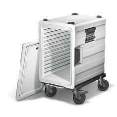 GTARDO.DE:  Speisentransportbehälter aus Kunststoff, mit Stecktür, 12 Paar Auflagesicken, 3xGN 1/1-150, fahrbar 736,00 €