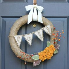 Burlap Bunting Flag Wreath - front door decoration for fall.
