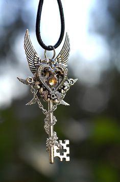 Heart of Silver Key Necklace by KeypersCove.deviantart.com on @deviantART